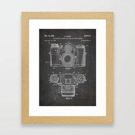 Camera Patent - Photography Art - Black Chalkboard Framed Art Print