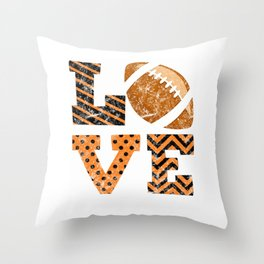Love Football Distressed Throw Pillow