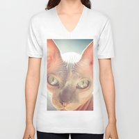 floyd V-neck T-shirts featuring Floyd The Cat by Alex DZ