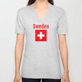 Sweden - Swiss Flag Unisex V-Neck