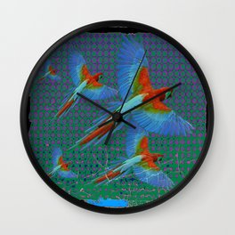 BLACK-TEAL SHABBY CHIC TROPICAL BLUE MACAWS Wall Clock