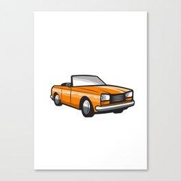 Vintage Cabriolet Top-Down Car Isolated Retro Canvas Print