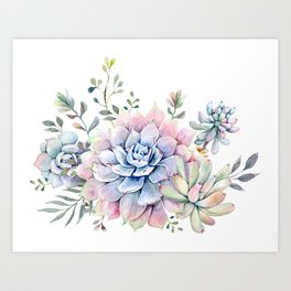 succulent watercolor 1 Art Print