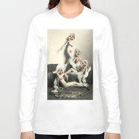 nudes Long Sleeve T-shirts featuring RECLINING NUDE CLOWNS (censored) by Julia Lillard Art