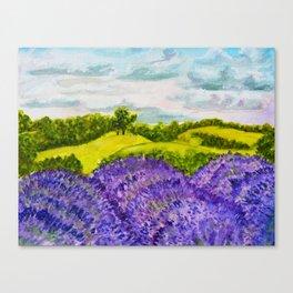 Lavender Fields Watercolor Canvas Print