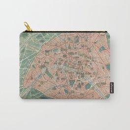 Vintage Paris Map France Carry-All Pouch