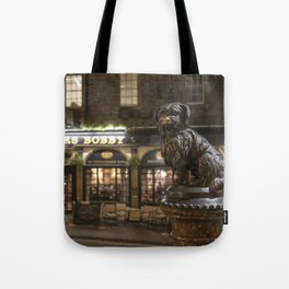 Bobby Greyfriars dog statue at night Edinburgh Scotland pub Tote Bag