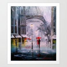 the first snow in Paris Art Print