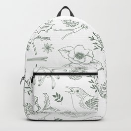 Birds and evergreen foliage pattern Backpack