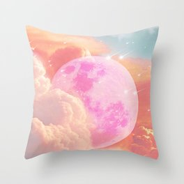 Pink Moon Landscape Throw Pillow