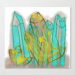 Crystals - Cyan Canvas Print