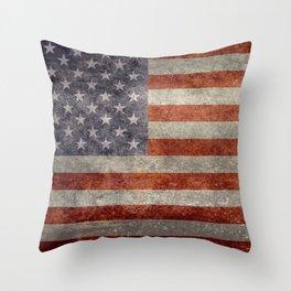 USA flag - Retro vintage Banner Throw Pillow