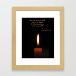 Shakespeare Candle Flame Framed Art Print