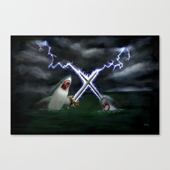 Shark vs. Narwhal  Canvas Print