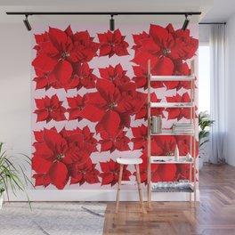 FESTIVE  RED POINSETTIA FLOWERS PINK  CHRISTMAS ART Wall Mural