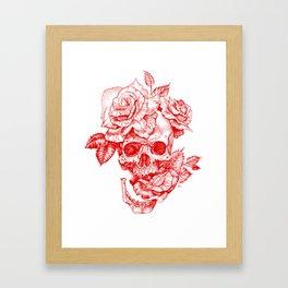Roses and Human Skull - Red Framed Art Print