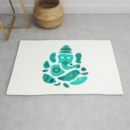 Ganesha Drawing with Mandala Elements Rug