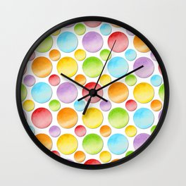 Rainbow Polka Dots Wall Clock