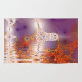 Ice Gold, Abstract Fractal Underground Lake  Rug