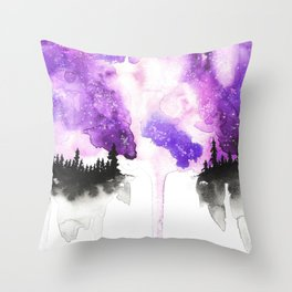 Trees under the milky way Throw Pillow