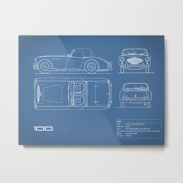 The AH 100 Blueprint Metal Print