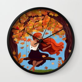 Meredith in Autumn in the Park Wall Clock