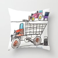 pocket fuel Throw Pillows featuring Taking on Fuel by Ryan van Gogh