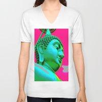 buddah V-neck T-shirts featuring Buddah Head 05; Pink Dachori by Kether Carolus
