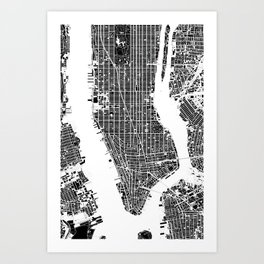New York city map black and white Art Print