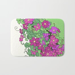 Swirling vines of Clematis in shades of pink and green Bath Mat