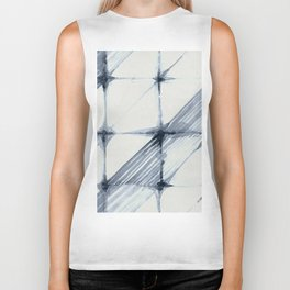 Simply Wabi-sabi in Indigo Blue on Lunar Gray Biker Tank