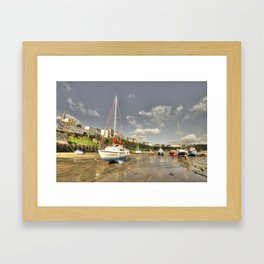 Tenby Harbour beach n boats  Framed Art Print