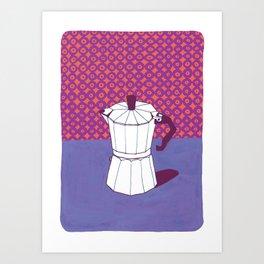 Coffee Pot with Wallpaper (Purple) Art Print