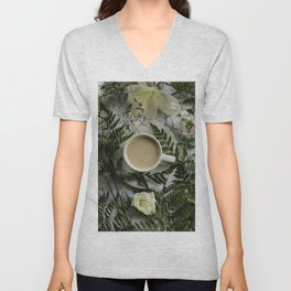 Flowers and Coffee Unisex V-Neck