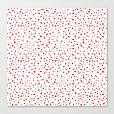PolkaDots-Red on White Canvas Print