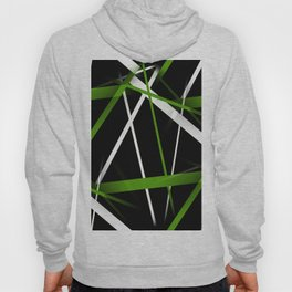 Seamless Grass Green and White Stripes on A Black Background Hoody