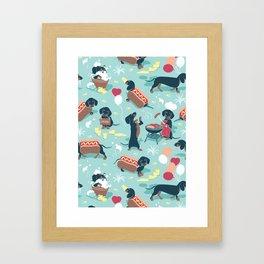 Hot dogs and lemonade // aqua background navy dachshunds Framed Art Print