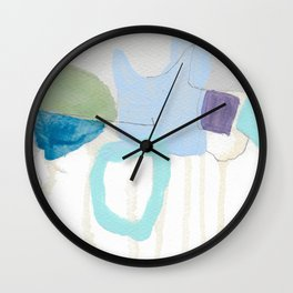 stone by stone 2 - abstract art fresh color turquoise, mint, purple, white, gray Wall Clock