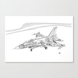 F16 Cutaway Freehand Sketch Canvas Print