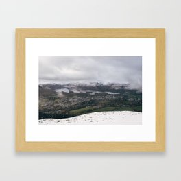Views of Derwent Water and Keswick from Latrigg, covered in snow. Cumbria, UK. Framed Art Print