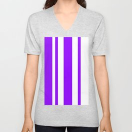 Mixed Vertical Stripes - White and Violet Unisex V-Neck