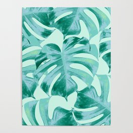 Tropical Monstera Leaves Dream #4 #tropical #decor #art #society6 Poster