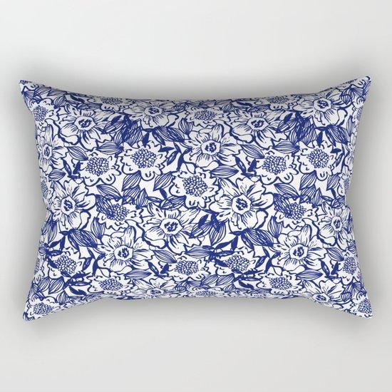 Indigo Florals watercolor painterly botanical boho pattern print nature spring summer monochromatic Rectangular Pillow