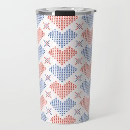 Hand Drawn Embroidery Love Heart Stitches Seamless Vector Pattern Travel Mug
