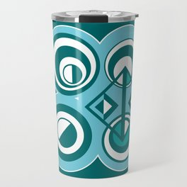 Striped Blue White and Teal Falling Eccentric Circles Abstract Art Travel Mug
