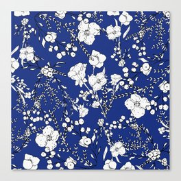 Botanical hand painted navy blue white floral Canvas Print