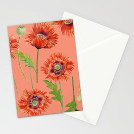 Orange Poppy Pattern 08 Stationery Cards