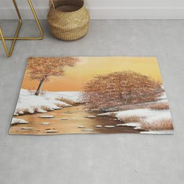 Winter at the creek Rug
