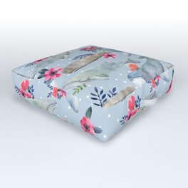 floral whales Outdoor Floor Cushion