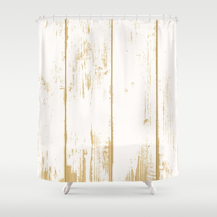 Rustic Wooden Texture White And Gold Antique Wood Shower Curtain